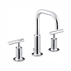 Purist(R) widespread bathroom sink faucet with low lever handles and low gooseneck spout