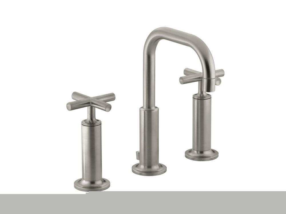Purist Widespread Bathroom Faucet in Vibrant Brushed Nickel Finish