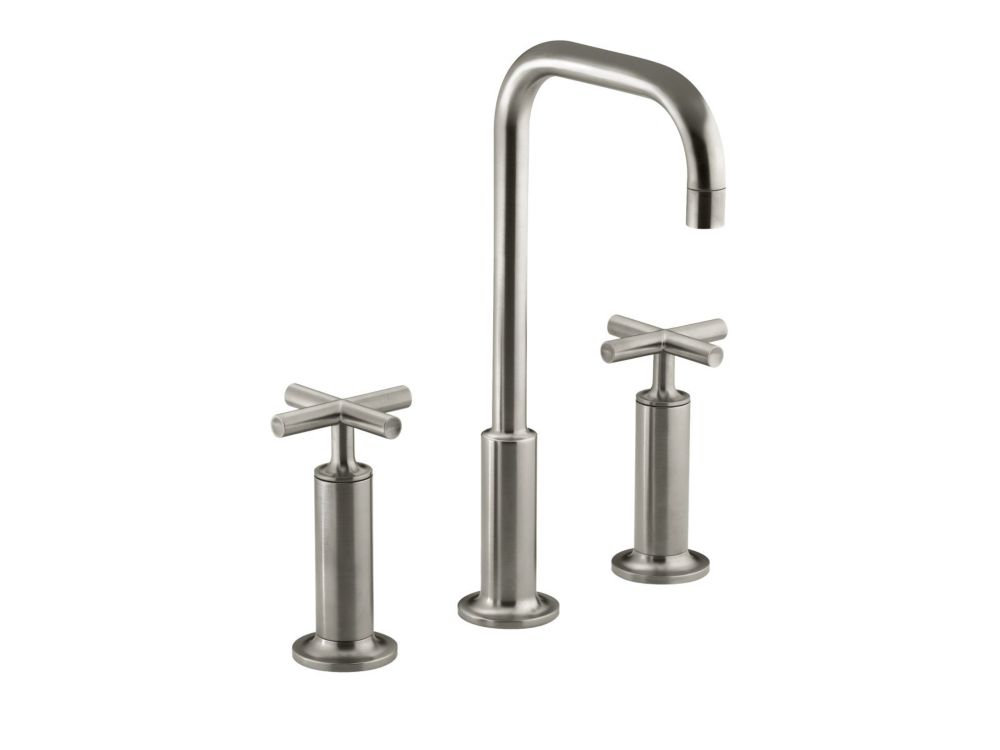 Eva 2 Handle Lever Widespread Lavatory Faucet With Drain Assembly Trim Only Brushed Nickel