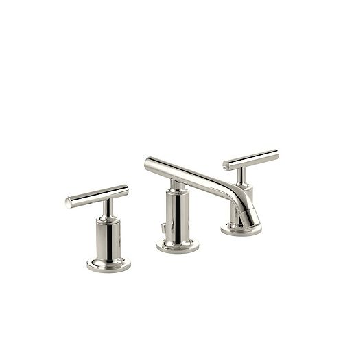 KOHLER Purist(R) widespread bathroom sink faucet with low lever handles and low spout