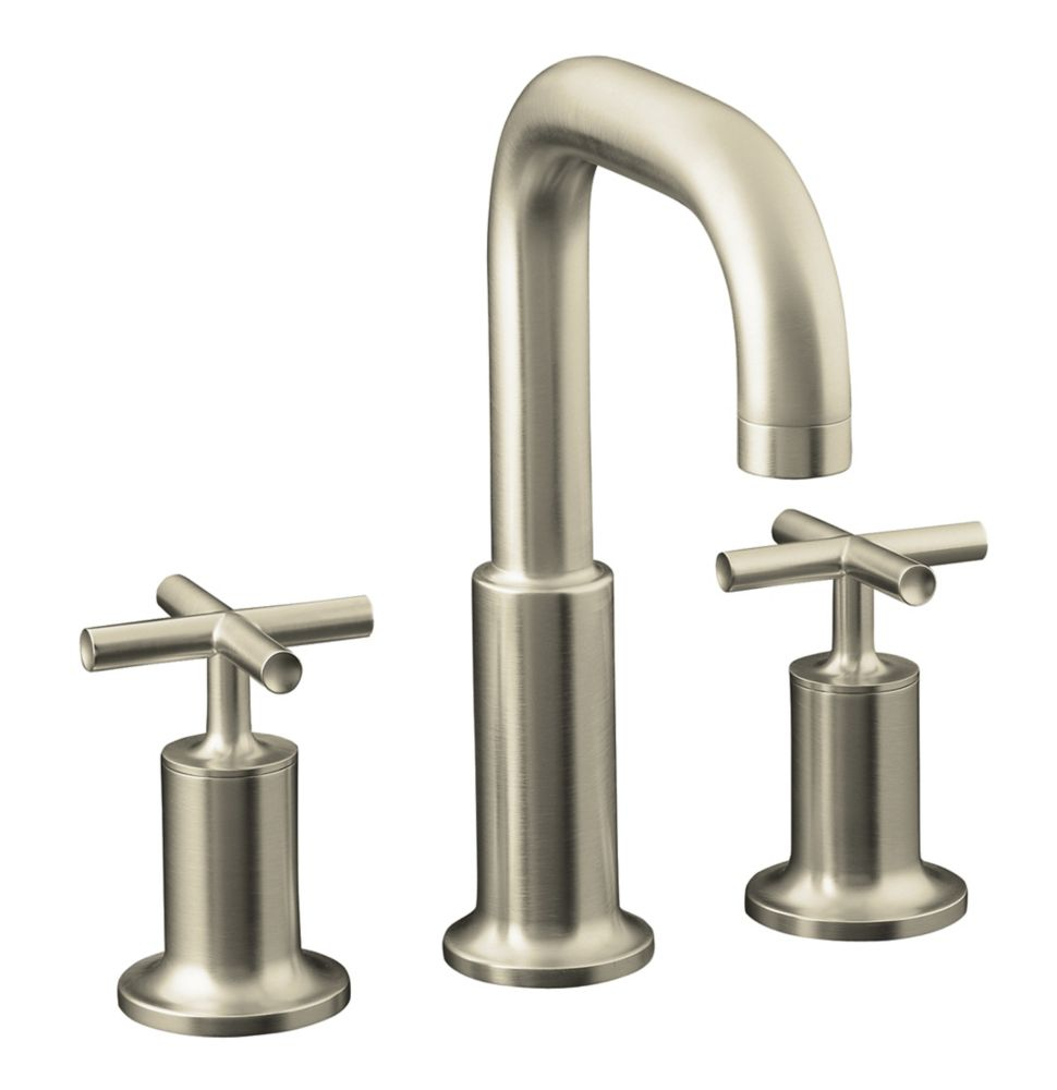 Purist Deck-Mount High-Flow Bathroom Faucet in Vibrant Brushed Nickel Finish