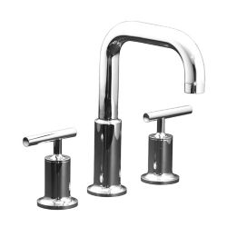 KOHLER Purist(R) deck-mount bath faucet trim for high-flow valve with lever handles, valve not included