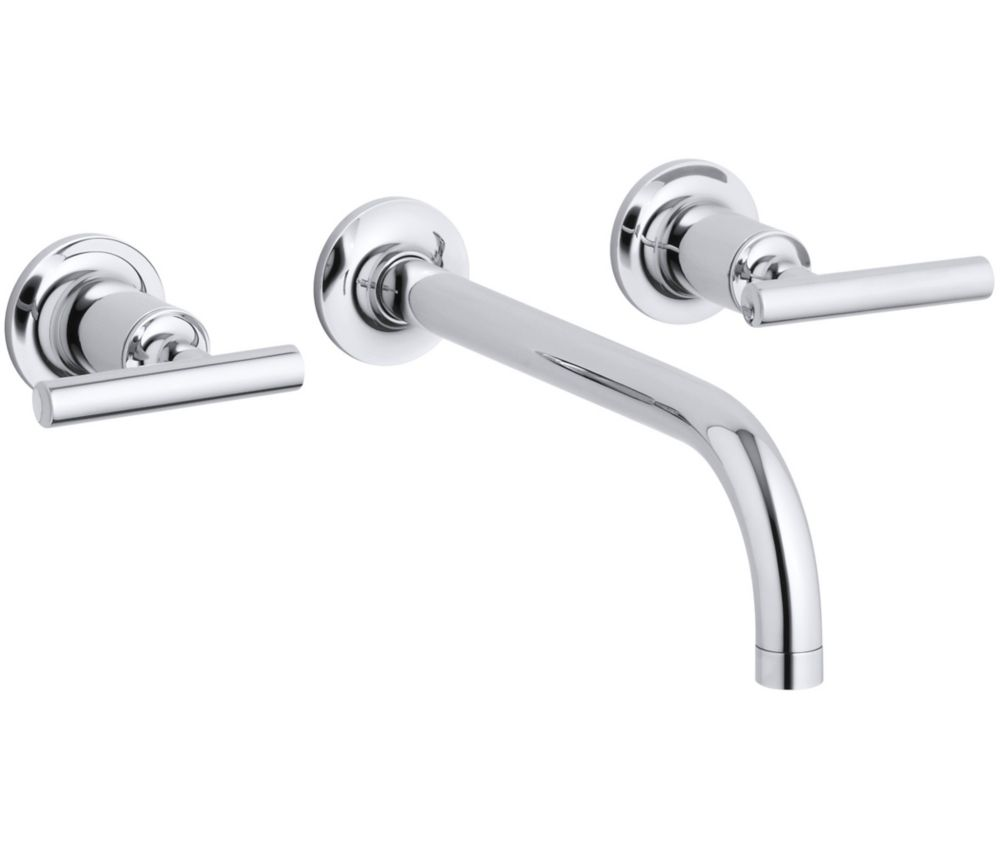 Purist Wall-Mount 2-Handle Bathroom Faucet in Polished Chrome Finish