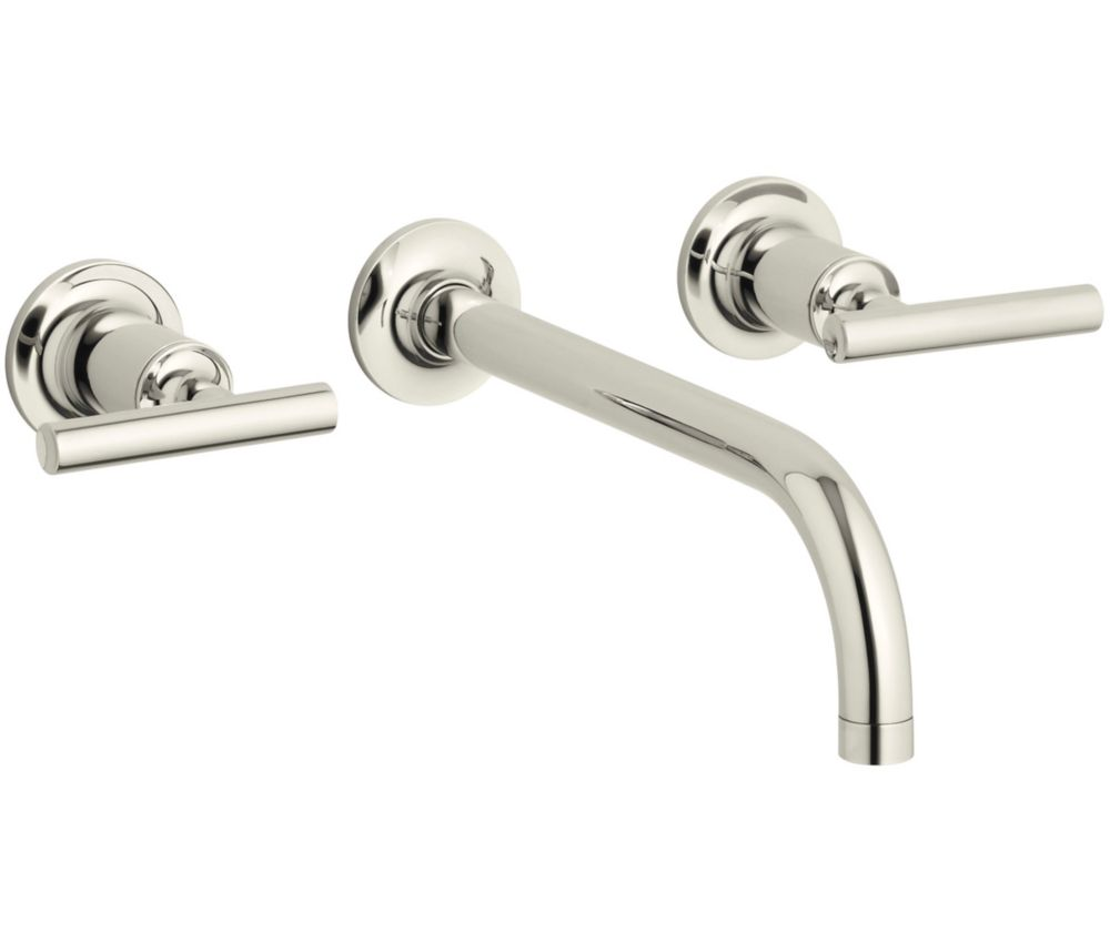 Purist Wall-Mount 2-Handle Bathroom Faucet in Vibrant Polished Nickel Finish