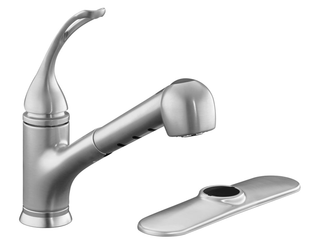 Coralais Single-Control Pullout Spray Kitchen Sink Faucet In Brushed Chrome