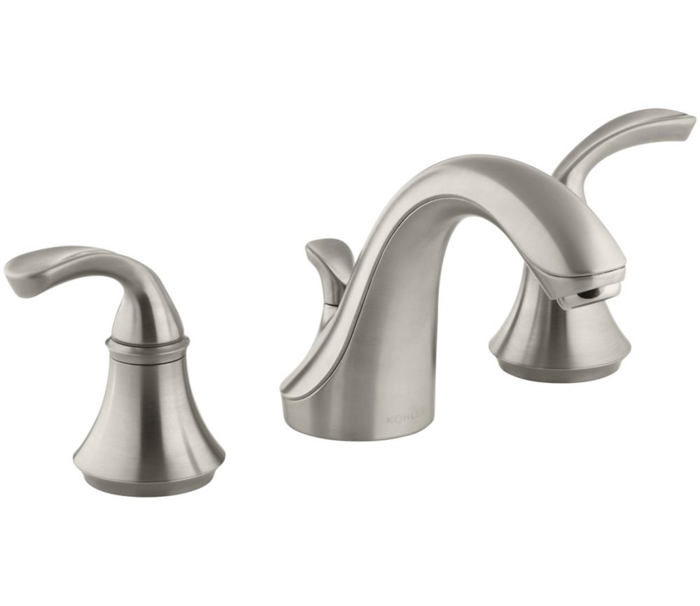 Forté Widespread Bathroom Faucet with Sculpted Lever Handles in Vibrant Brushed Nickel Finish