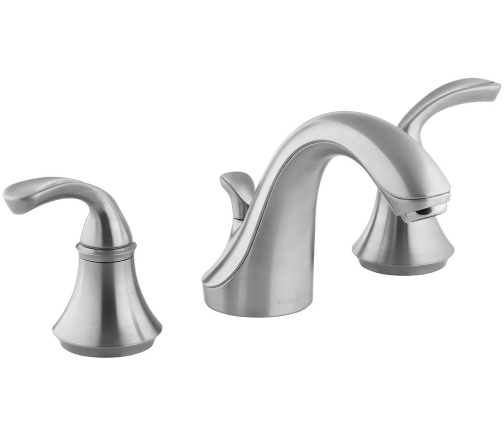Forté Widespread Bathroom Faucet with Sculpted Lever Handles in Brushed Chrome Finish