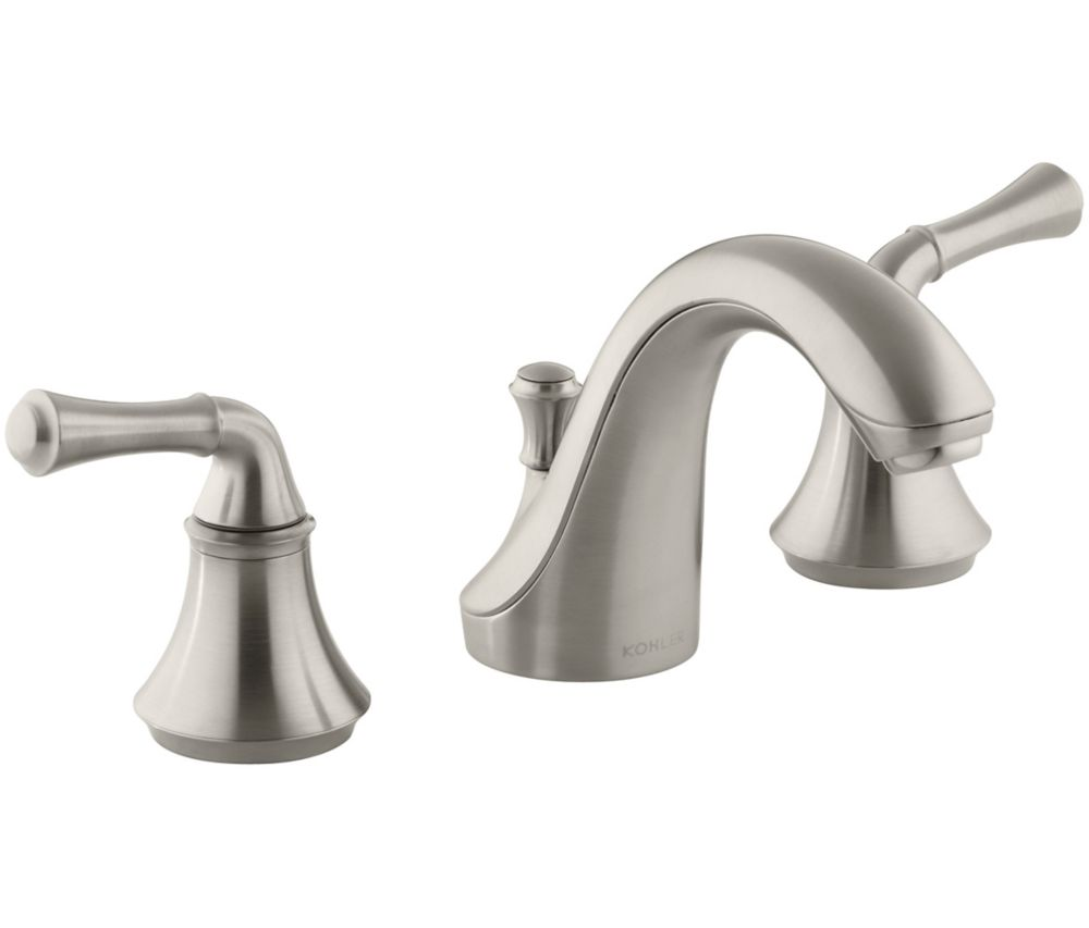 Forté Widespread Bathroom Faucet with Traditional Lever Handles in Vibrant Brushed Nickel Finish