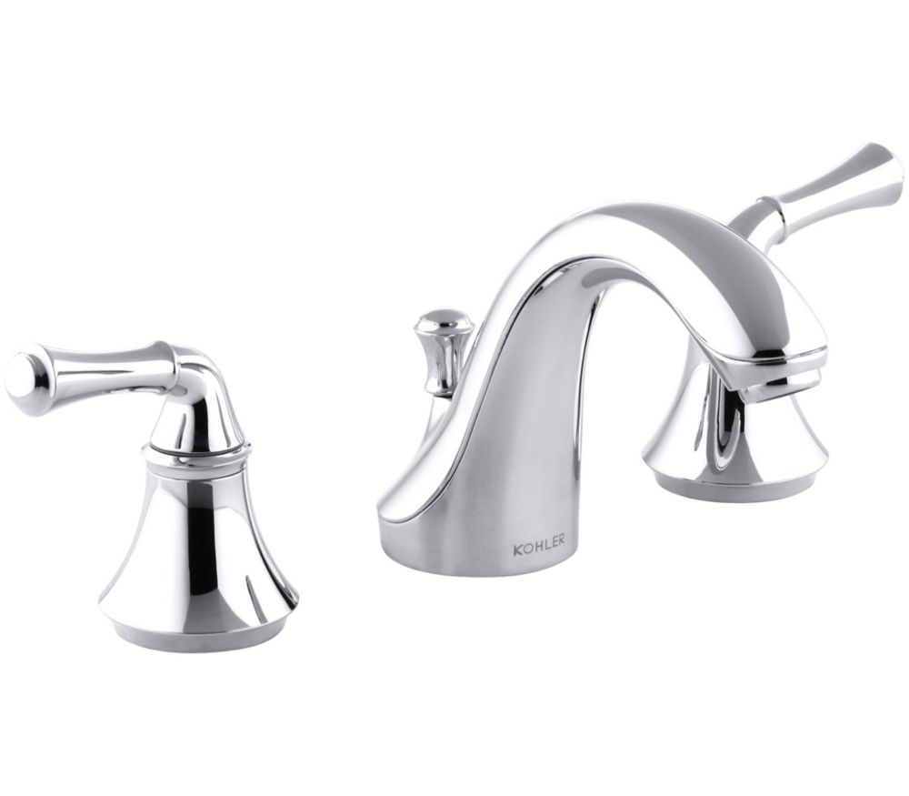 Forté Widespread Bathroom Faucet with Traditional Lever Handles in Polished Chrome Finish