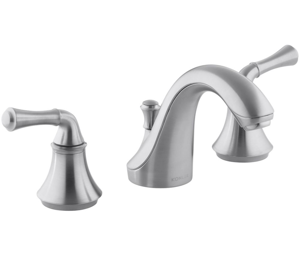 Forté Widespread Bathroom Faucet with Traditional Lever Handles in Brushed Chrome Finish