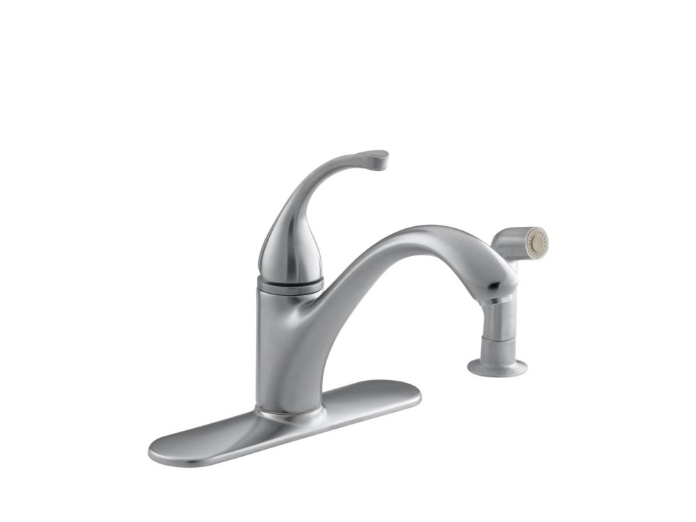Forté Single-Control Kitchen Sink Faucet With Escutcheon, Sidespray And Lever Handle In Brushed C...