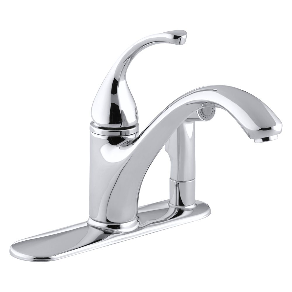 Forté Single-Control Kitchen Sink Faucet With Sidespray In Escutcheon And Lever Handle In Polishe...