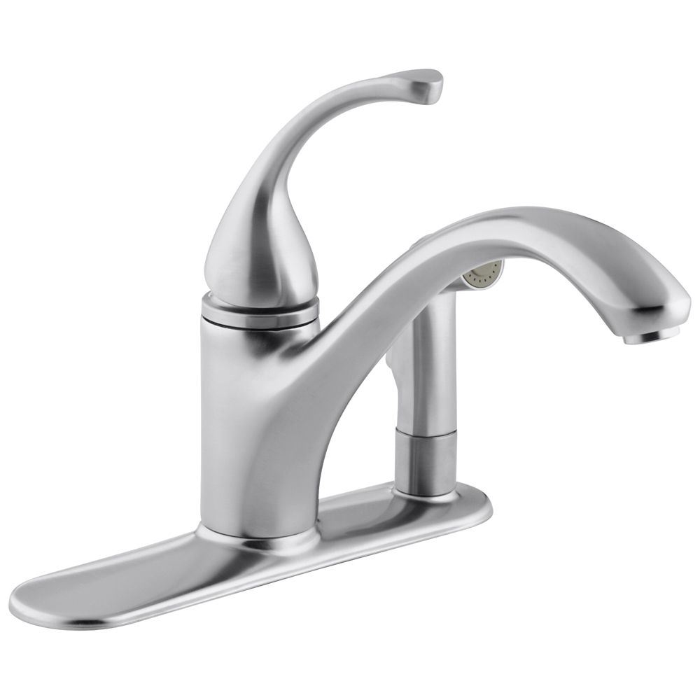 KOHLER Forté Single-Control Kitchen Sink Faucet With Sidespray In Escutcheon And Lever Handle In Brushed Chrome