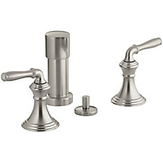 Devonshire 2-Handle Bidet Faucet with Vertical Spray in Brushed Nickel