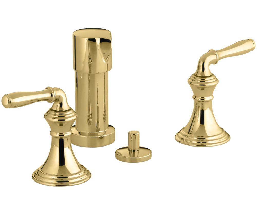 Devonshire 2-Handle Bidet Faucet with Vertical Spray in Polished Brass Finish
