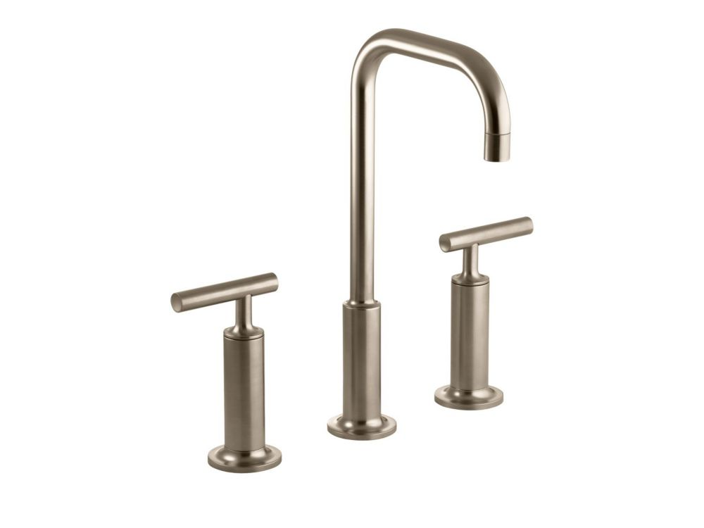 Kohler finial traditional widespread bathroom faucet with for Vibrant brushed bronze bathroom lighting