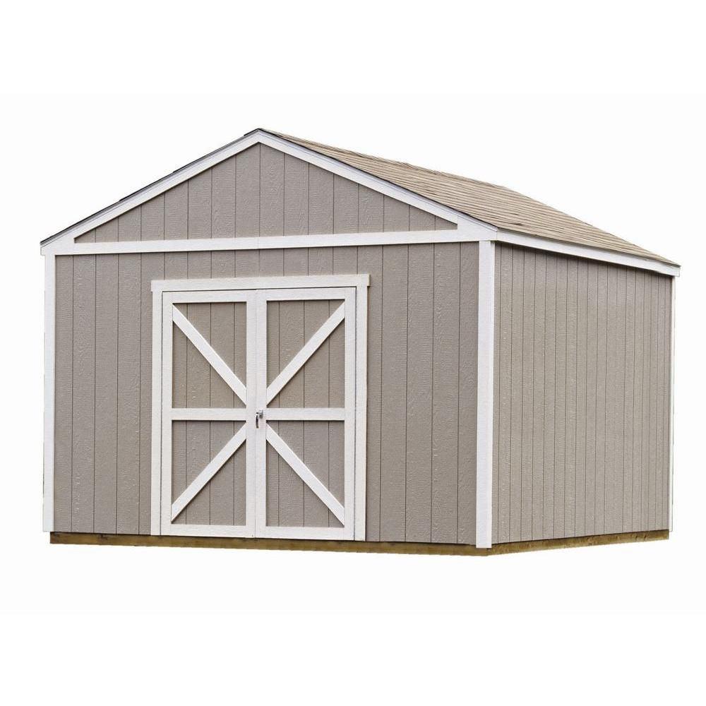 Handy home products columbia storage building kit with for Two floor shed