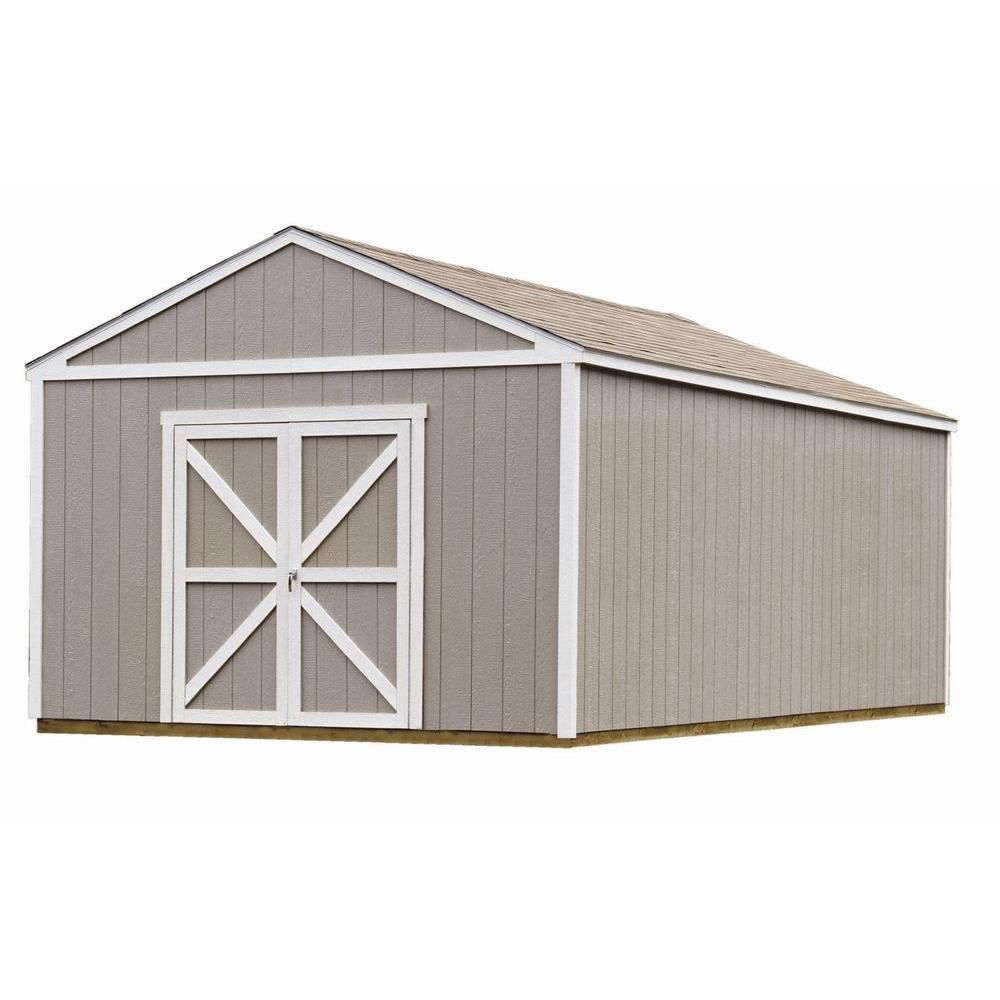 Vision 8 ft x 7 ft outdoor vinyl storage building the for Garage en kit pvc