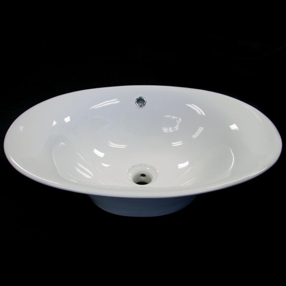 Neptune Ceramic Oval Countertop Bathroom Sink Basin