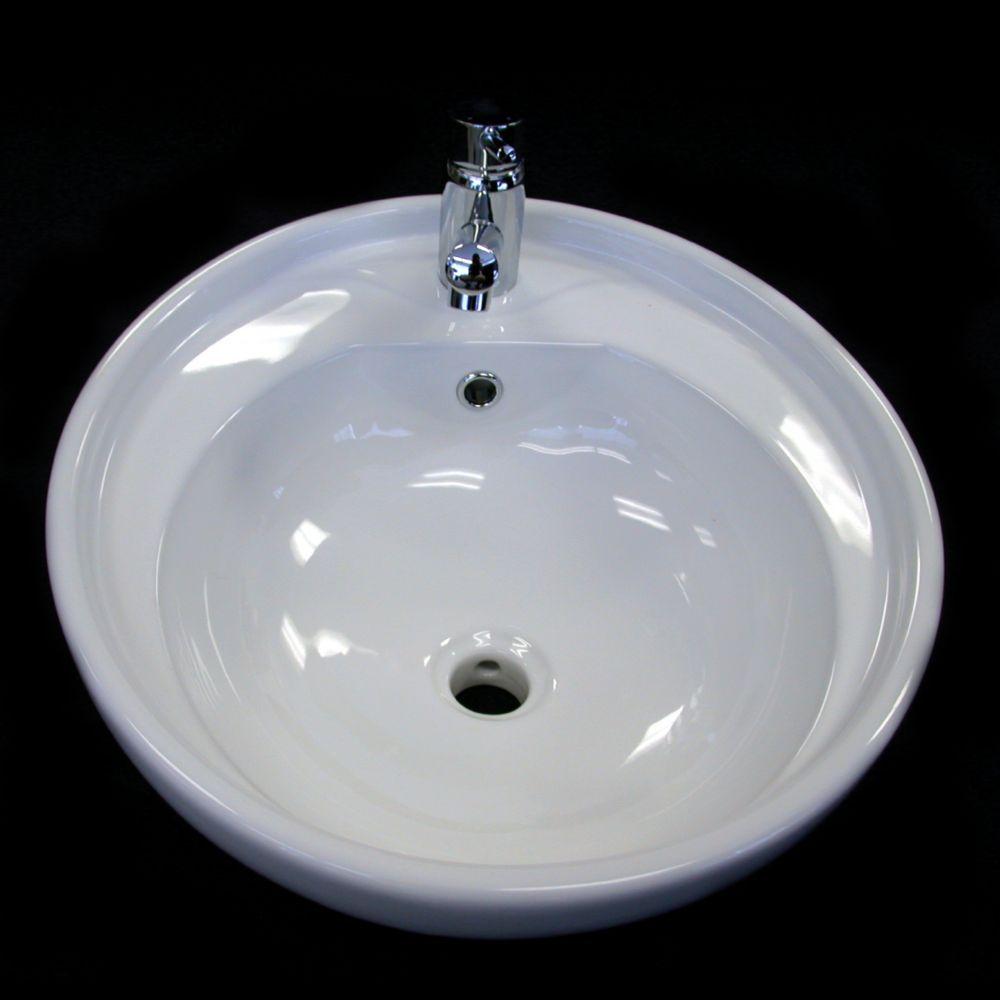 Neptune Ceramic Round Countertop Bathroom Sink Basin