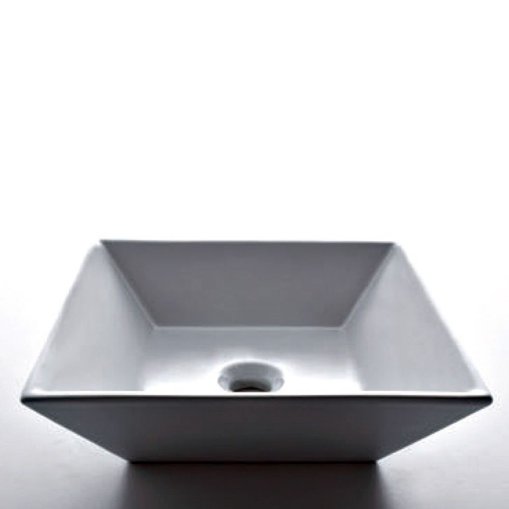 Square Countertop Vessel Sink in White