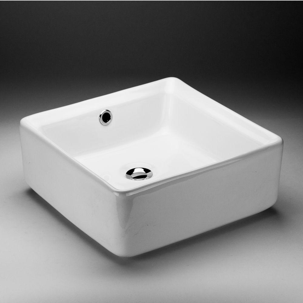 Acri-Tec 15-inch x 6-inch x 15-inch Square Ceramic Bathroom Sink