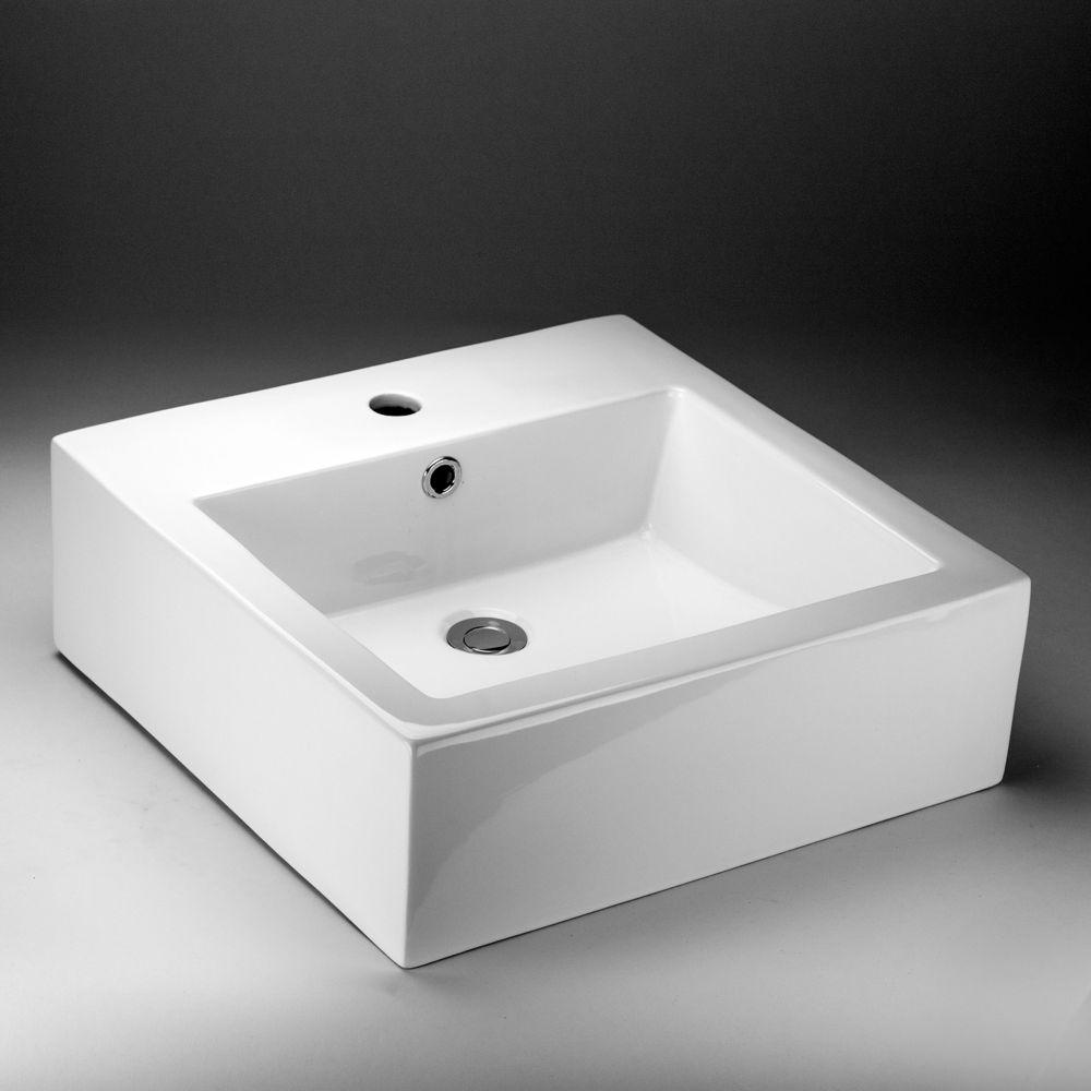 Acri-Tec 18.50-inch x 6-inch x 18.50-inch Square Ceramic Bathroom Sink