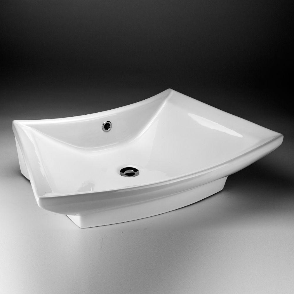 Lavabo de dessus de comptoir en céramique rectangulaire