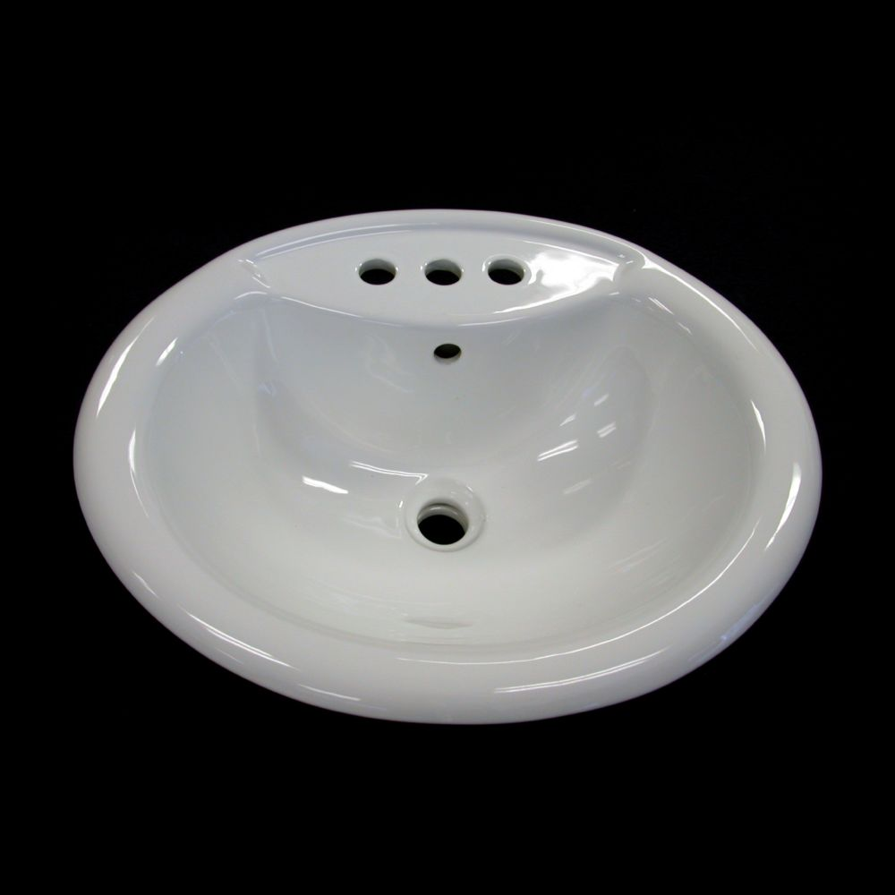 Neptune Ceramic Oval Drop-In Bathroom Sink Basin
