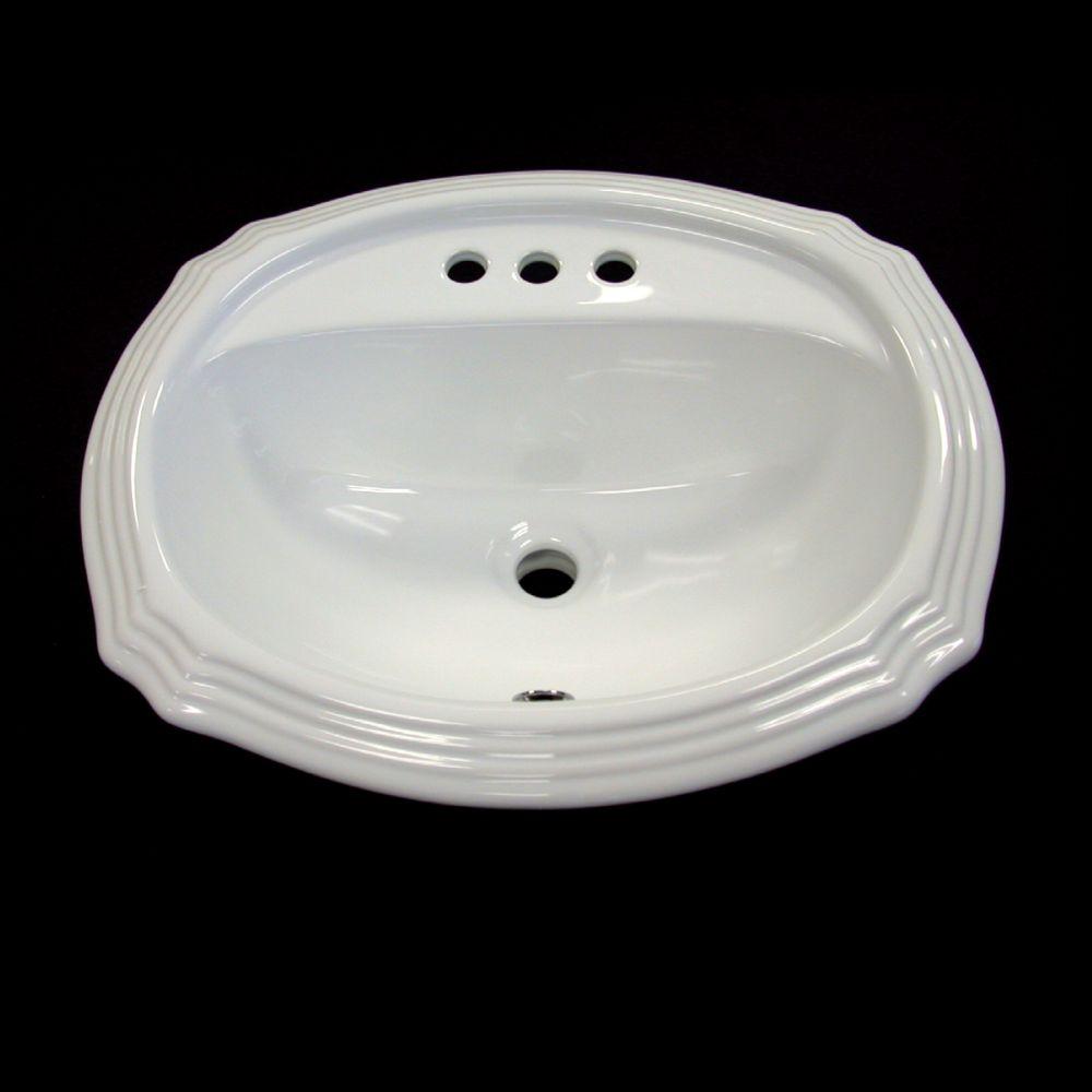 Lavabo de dessus de comptoir en céramique ovale en blanc