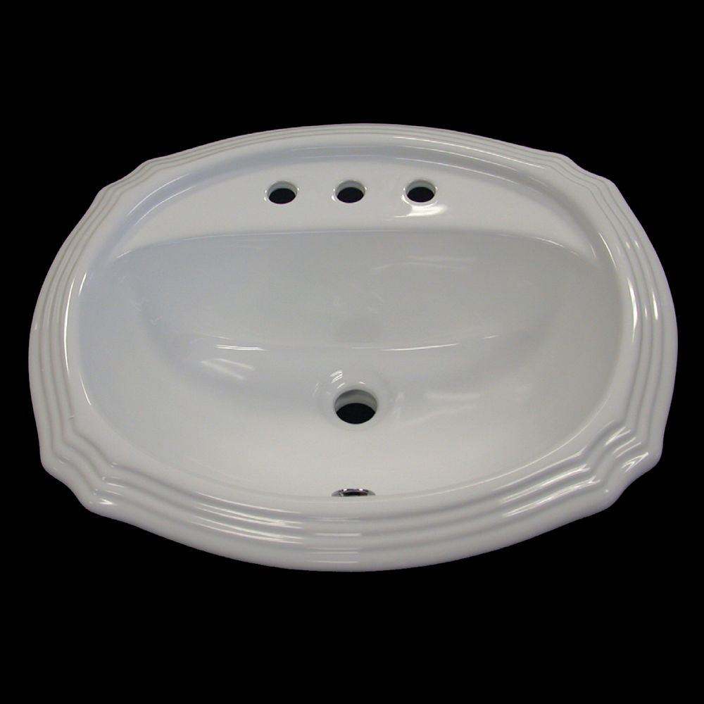 Neptune Sink : Acri-Tec Neptune Ceramic Scalloped Drop-In Bathroom Sink Basin in ...