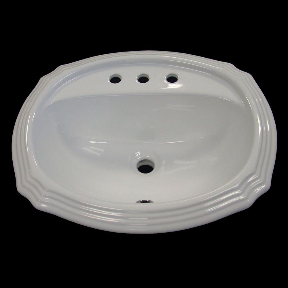 Neptune Ceramic Scalloped Drop-In Bathroom Sink Basin in White