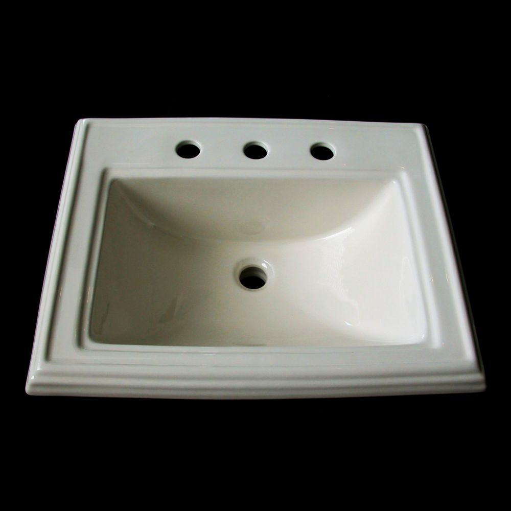 Neptune Ceramic Drop-In Bathroom Sink with 8-inch Holes in White