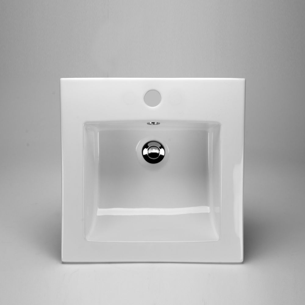 Acri-Tec 16 3/8 x 16 3/8 Ceramic Square Drop-In Sink Basin