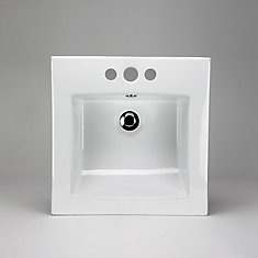 16 3/8 x 16 3/8 Ceramic Square Drop-In Sink Basin