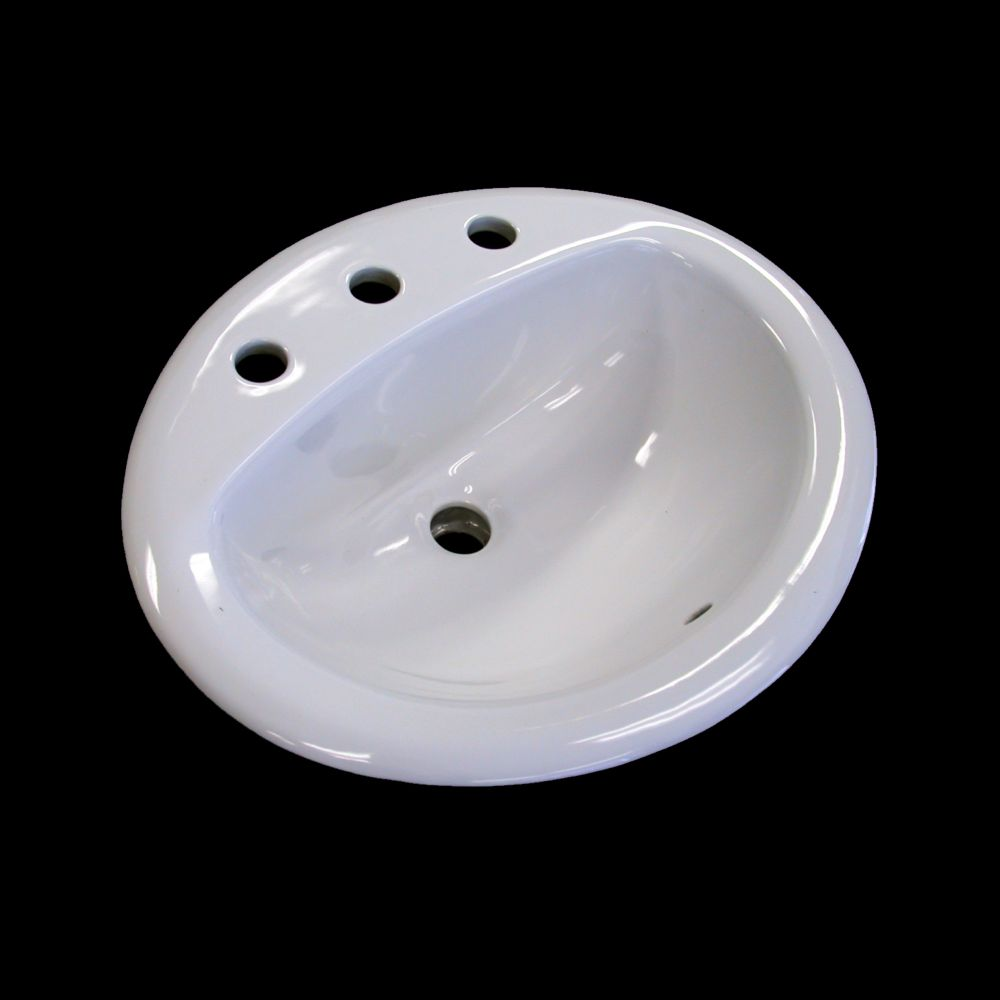 Neptune Sink : Acri-Tec Neptune Ceramic Oval Drop-In Bathroom Sink Basin The Home ...