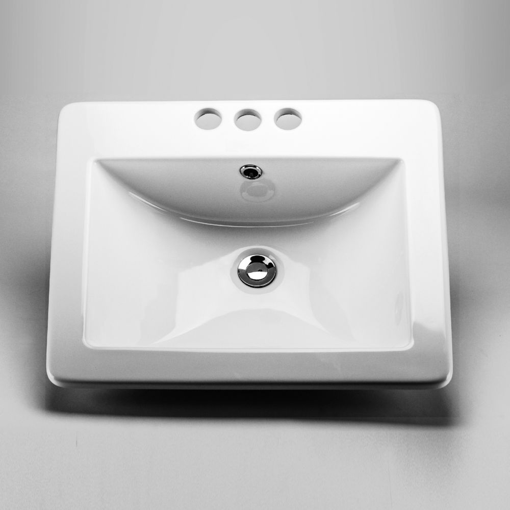 Neptune Ceramic Rectangular Drop-In Sink Basin