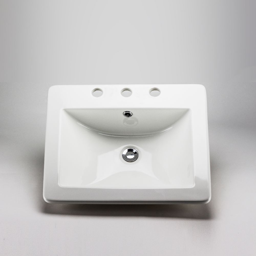 Acri-Tec 20 5/8 x 17 7/8 Ceramic Rectangular Drop-In Sink Basin