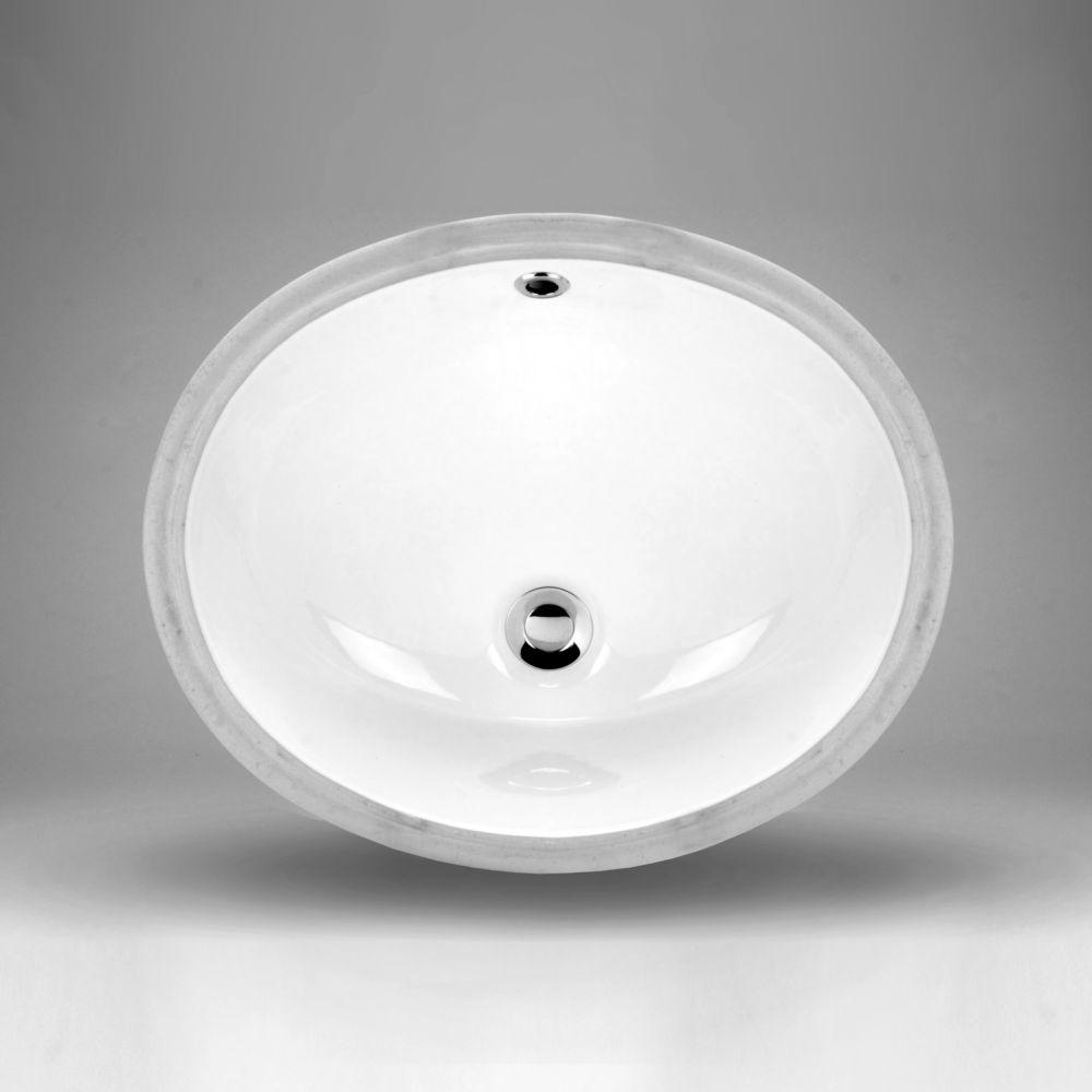 Acri-Tec 18 x 15 Ceramic Oval Undermount Bathroom Sink Basin