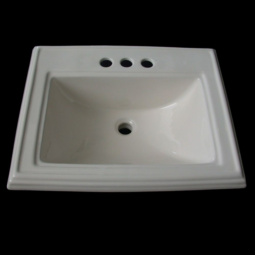 Neptune Drop-In Vessel Sink with 4-inch Faucet Installation in Biscuit