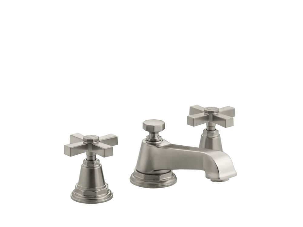 Pinstripe Pure Widespread Bathroom Faucet in Vibrant Brushed Nickel Finish