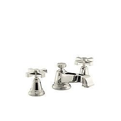 KOHLER Pinstripe(R) Pure widespread bathroom sink faucet with cross handles