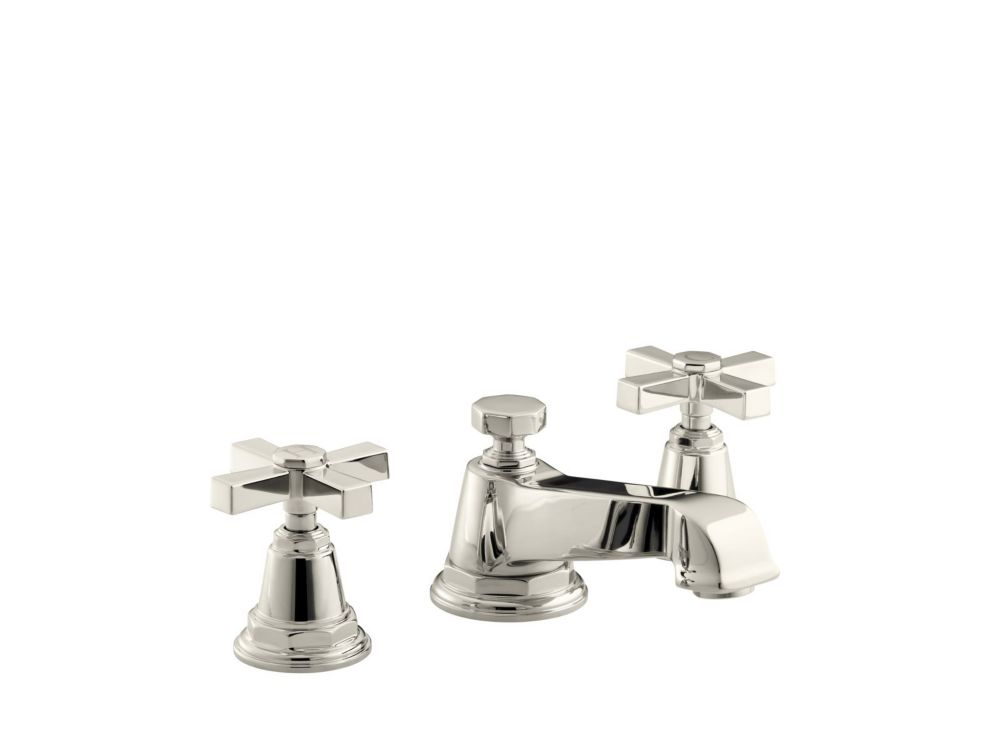 KOHLER Pinstripe(R) Pure widespread bathroom sink faucet with cross handles