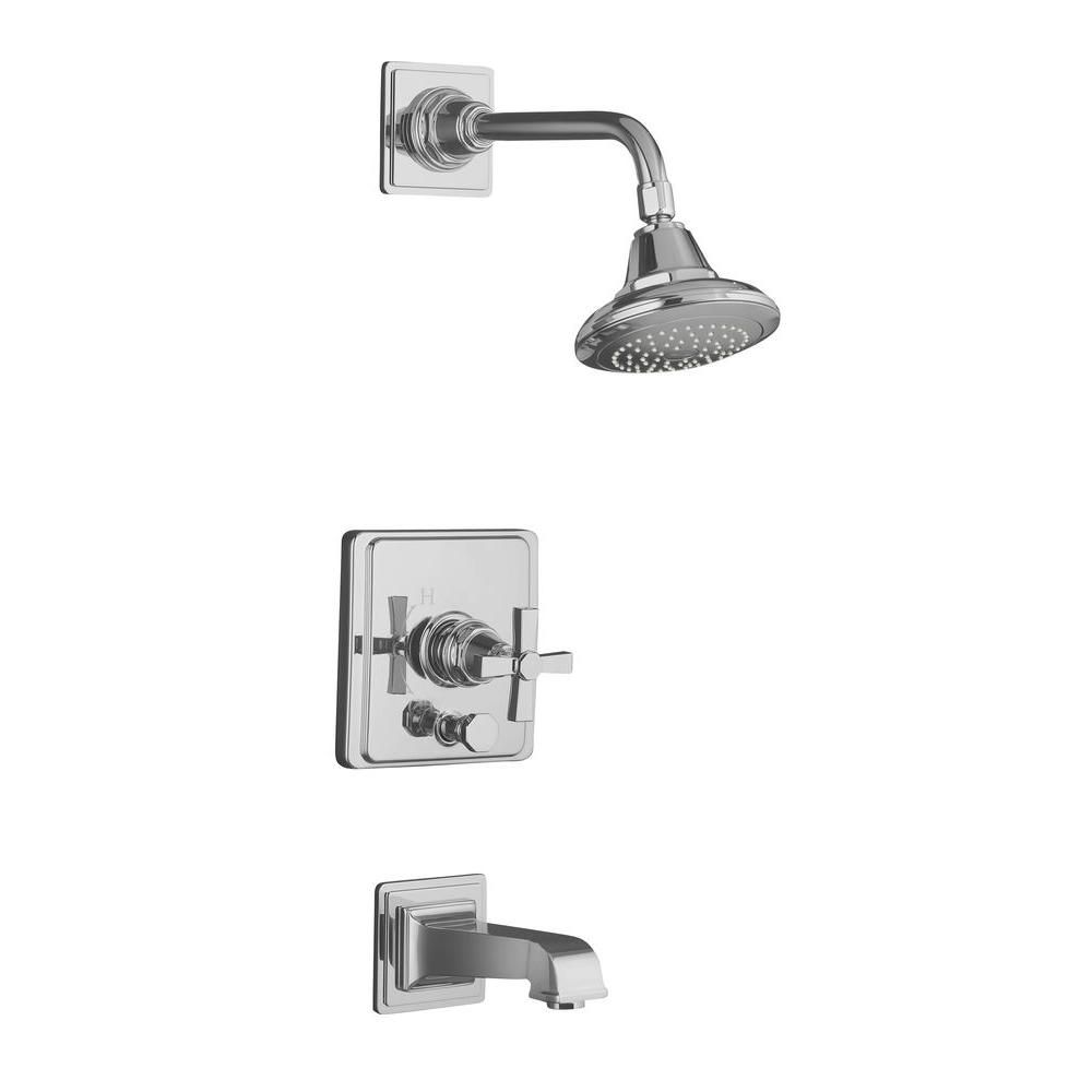 Pinstripe Pure Rite-Temp Pressure-Balancing Bath/Shower Faucet in Polished Chrome
