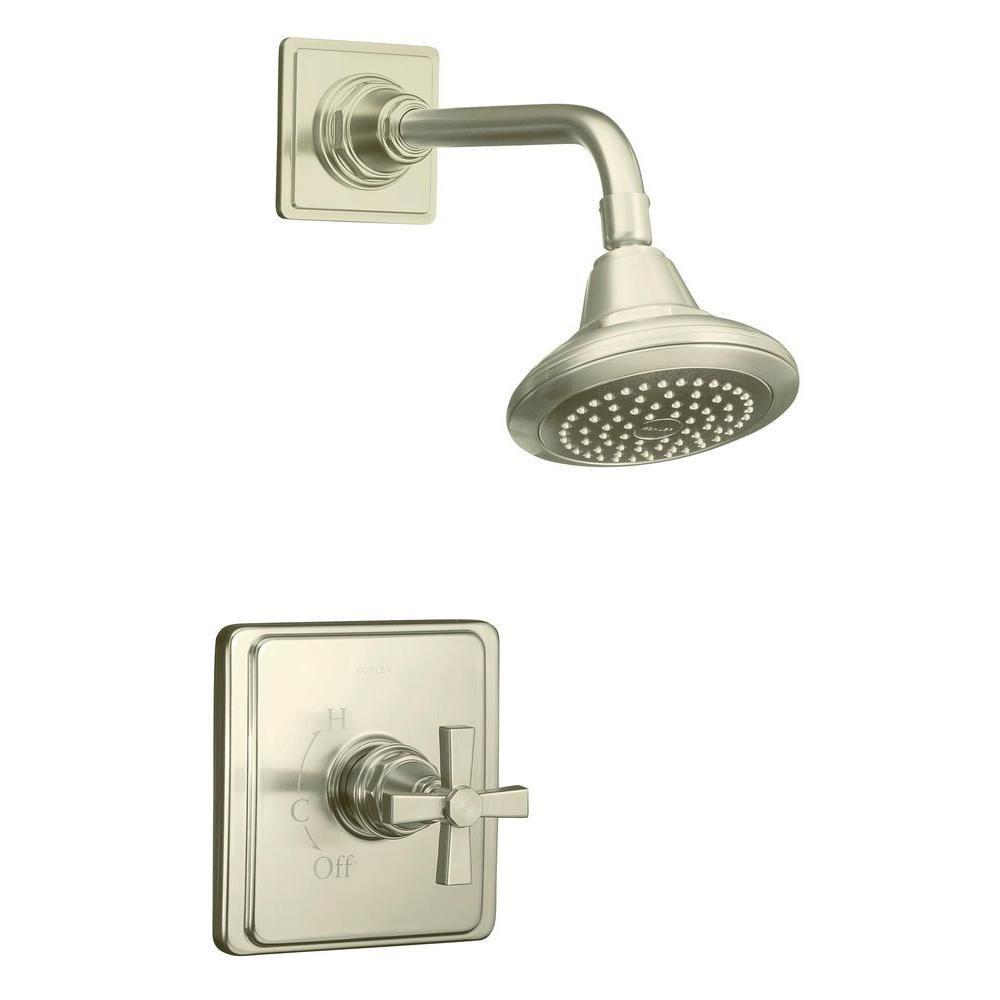 KOHLER Pinstripe Pure Rite-Temp Pressure-Balancing Shower Faucet in Vibrant Brushed Nickel