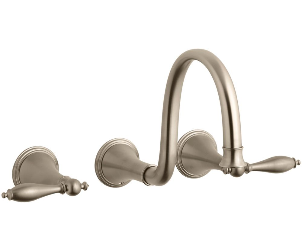KOHLER Finial(R) wall-mount bathroom sink faucet trim with lever handles and 9-3/4 inch spout, requires valve