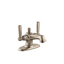 KOHLER Bancroft(R) monoblock single-hole bathroom sink faucet with escutcheon and metal lever handles