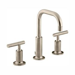 KOHLER Purist(R) widespread bathroom sink faucet with low lever handles and low gooseneck spout