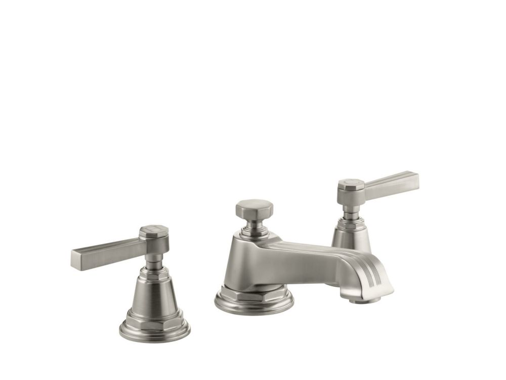 Pinstripe Widespread Bathroom Faucet in Vibrant Brushed Nickel Finish