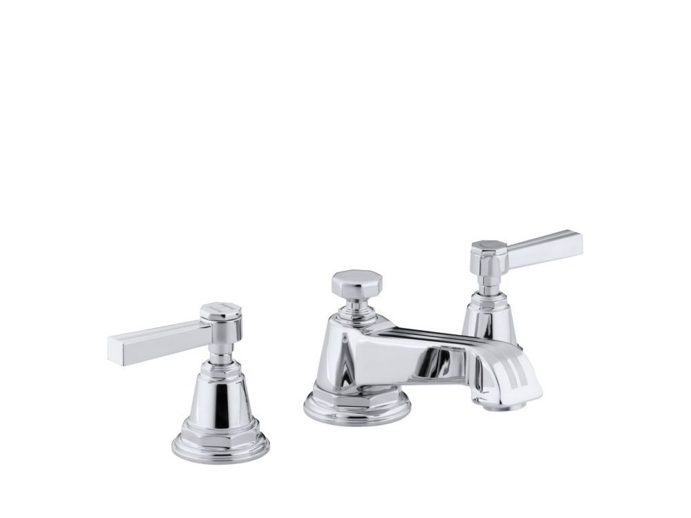 Pinstripe Widespread Bathroom Faucet in Polished Chrome Finish